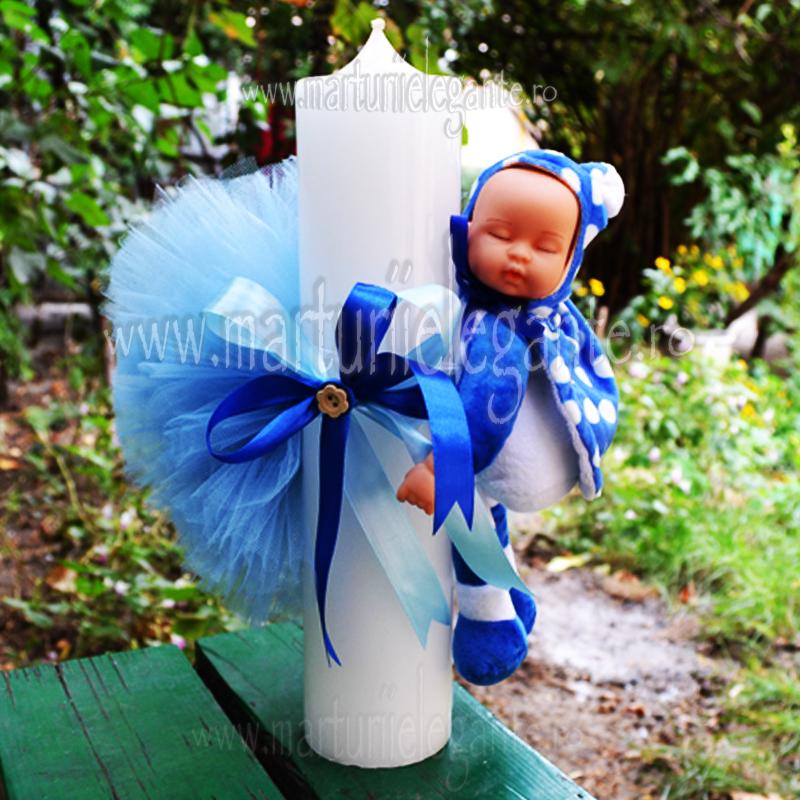 Lumanare Botez Cu Bebe Somnoros Gargarita Albastra Marturii Elegante