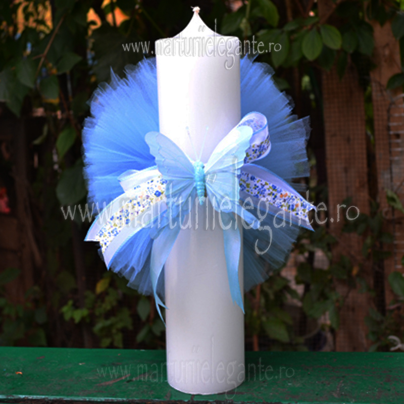 Lumanare Elegante Cu Fluturas Bleu Si Pompon Marturii Elegante