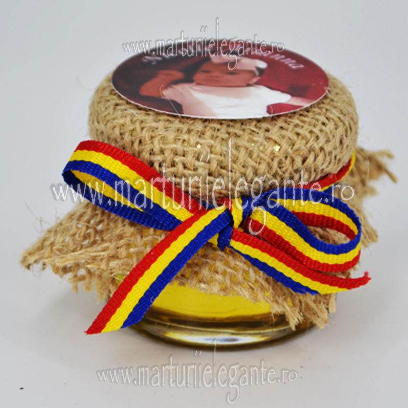 Marturie Botez Borcanel Miere Rustic Cu Tricolor Si Poza Marturii