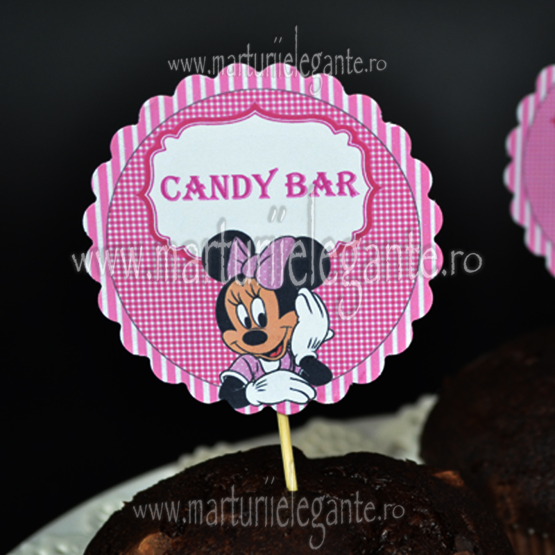 Etichete Candybar Botez Minnie Mouse Roz Marturii Elegante Etichete
